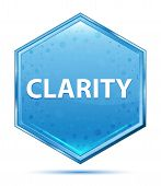 Clarity Isolated On Crystal Blue Hexagon Button poster