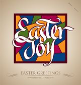 'easter joy' hand lettering (vector)