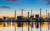 Oil And Gas Refinery Industry Plant With Glitter Lighting And Sunrise In The Morning, Factory Of Pet poster