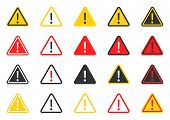 Signs Warning Of The Danger, Caution Icon Set, Hazard Warning Attention Sign poster