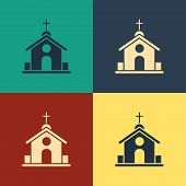 Color Church Building Icon Isolated On Color Background. Christian Church. Religion Of Church. Vinta poster