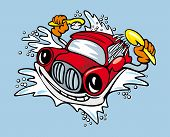 image of car wash  - Cartoon car with sponge and shampoo for cleaning and washing service design - JPG
