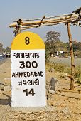 Portrait Of Nh8 300 Kilometer Marker To Ahmedabad Nh8