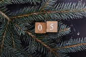 Advent Calendar. Countdown To Christmas. Wooden Numbers. Number Five. Christmas Background. Winter B poster