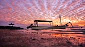 Fishing Boat Under Dramatic Sunrise Sky View In Very Low Angle. Beach Nature Landscape Scenery With  poster