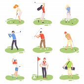 People Playing Golf Set, Male And Female Golfer Players Training With Golf Clubs On Course With Gree poster