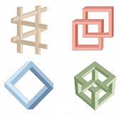 Ilusión óptica símbolos vectoriales