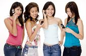 stock photo of foursome  - four attractive young women using their phones  - JPG
