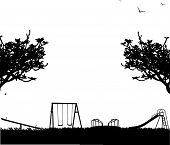 Kids playground with different objects in park silhouette