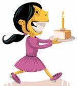 Girl Bringing Birthday Cake