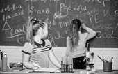 Fascinating Science. Educational Experiment. Girls Classmates Study Chemistry. Microscope Test Tubes poster