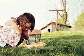 foto of buff  - Little girl watching Buff Orpington chicks with chicken coop and barn in far background - JPG