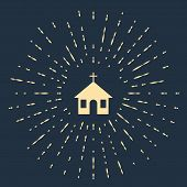 Beige Church Building Icon Isolated On Dark Blue Background. Christian Church. Religion Of Church. A poster
