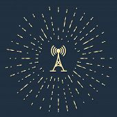 Beige Antenna Icon Isolated On Dark Blue Background. Radio Antenna Wireless. Technology And Network  poster