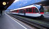 pic of railcar  - Swiss train arriving at the Interlaken Station at 8 - JPG