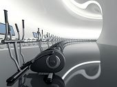 image of elliptical  - Futuristic huge curved modern gym with many elliptical cross trainer in a row - JPG