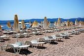 Beach chairs on Golden Cape, Croatia