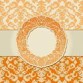 Abstract Leaf Background, Exclusive, Creative Ornament, Ornate, Baroque, Vintage, Orange Frame