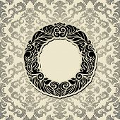 Abstract background with black vintage frame