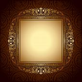 Vintage Picture Frame On Wall, Seamless Damask Background, Antique, Victorian Gold Ornament