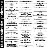 picture of art gothic  - 63 decorative design elements set vector illustration - JPG