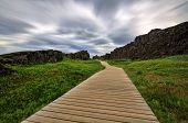 Wood Path In The Canyon, Thingvellir Np, Iceland