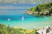 Picturesque view on sandy Lovrecina beach on Brac island, Croatia