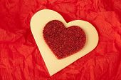 Red Heart Brocade Shape