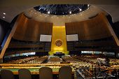 NEW YORK CITY, NY, USA - MAR 30: The General Assembly Hall is the largest room in the United Nations