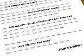 bla... bla... marketing-Brief Closeup