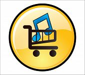 Buy Music Button - A glossy yellow button with a music icon on a shopping trolley