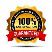 100% SATISFACTION guaranteed gold label with red ribbon vector i