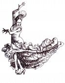 stock photo of bolero  - A hand drawn illustration of an young dancer - JPG