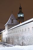 Snowy Bernardine Monastery In Lvov At The Night