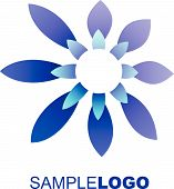 Contemporary blue flower logo