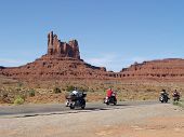 MONUMENT VALLEY USA - SEPTEMBER 22: Road of Monument Valey on Sepetmeber 22 2011. The largest sandst