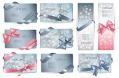 Set of beautiful Gift cards with color gift bows with ribbons.