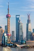 Oriental Pearl Tower and Shanghai World Financial Center (SWFC) & Jin Mao Tower with shanghai skylin