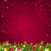 Christmas Dark Red Background With Stars And Fir Tree, With Gradient Mesh, Vector Illustration