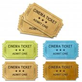 Cinema Ticket With Gradient Mesh, Isolated On White Background, Vector Illustration