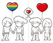 image of queer  - Iconic illustration of two couples - JPG