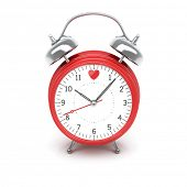 Isolated red clock with heart on clock face on white background
