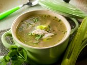 stock photo of leek  - soup with chicken and leek - JPG