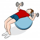 An image of a man exercising using a fitness ball and dumbbells.