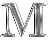 Metal Letter M from chrome solid alphabet.
