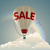 Hot air balloon with sale text, eps10 vector