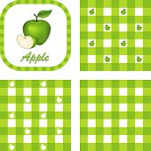 Green Apples, Gingham Seamless Patterns