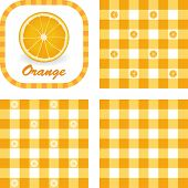 Orange, Gingham Seamless Patterns