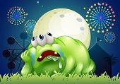 Illustration of a tired green monster at the carnival