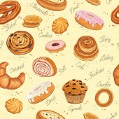 picture of pretzels  - Seamless pattern with various pastries - JPG